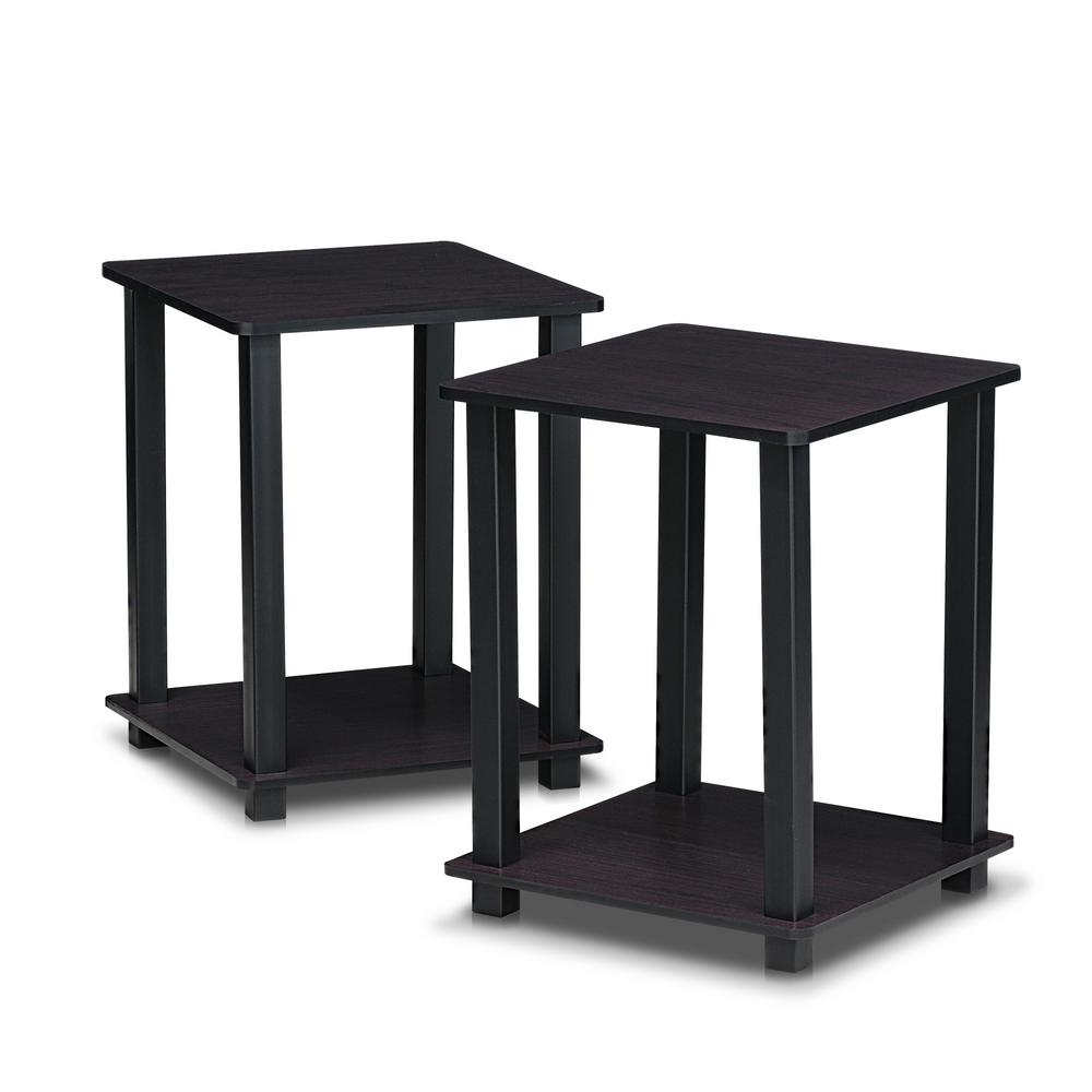 Gentil Furinno Simplistic Dark Walnut End Table (2 Pack)