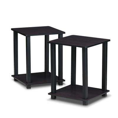 Simplistic Dark Walnut End Table (2-Pack)