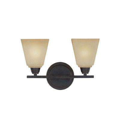 Parkfield 14.75 in. 2-Light Flemish Bronze Vanity Light with Crème Parchment Glass Shades