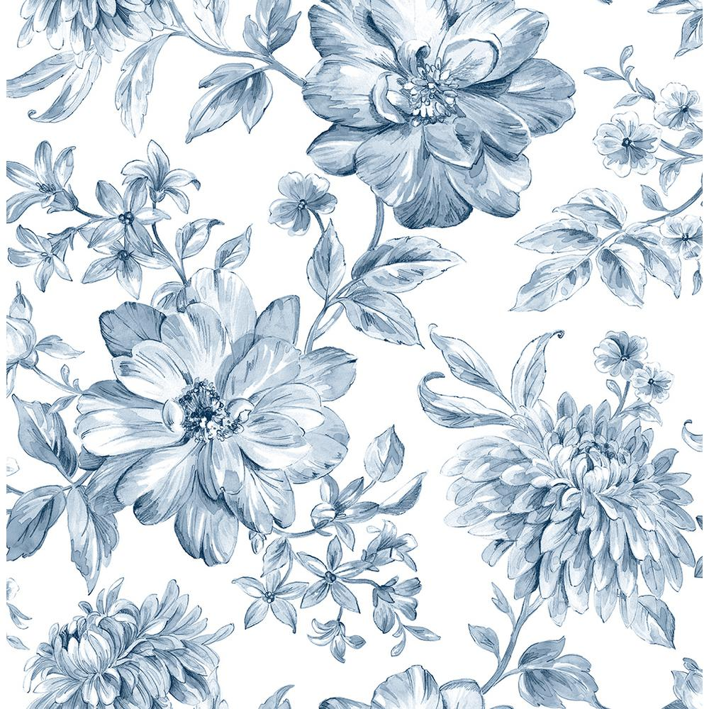 Brewster 56 4 Sq Ft Gabriela Blue Floral Wallpaper Uw25895 The