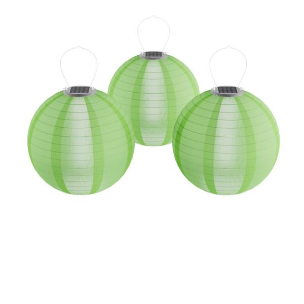 Green Integrated LED Hanging Solar Chinese Lanterns (3-Pack)