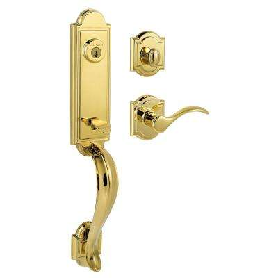 Prestige Avendale Single Cylinder Lifetime Polished Brass Door Handleset  With Arch Rose Tobin Lever Featuring SmartKey