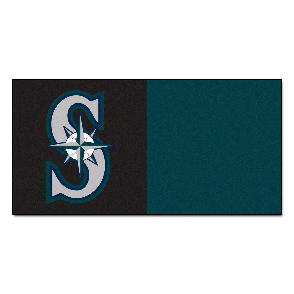 FANMATS MLB - Seattle Mariners Black and Teal Nylon 18 in. x 18 in. Carpet Tile (20 Tiles/Case)