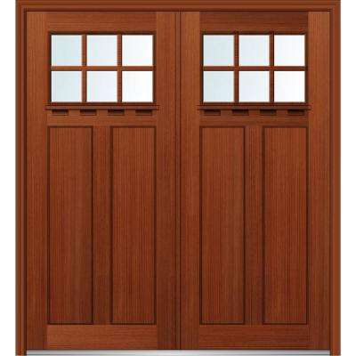 72 in. x 80 in. Shaker Left-Hand Inswing 6-Lite Clear Low-E 2-Panel Stained Fiberglass Fir Prehung Front Door with Shelf