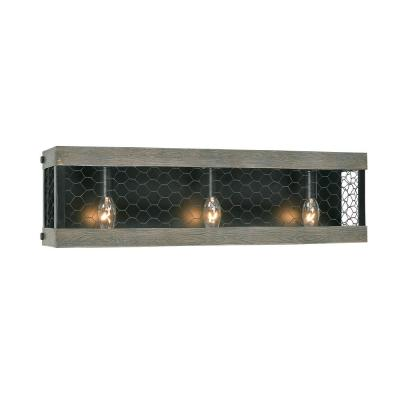 Cozy 3-Light Wood and Oil Rubbed Bronze Bathroom Vanity Light