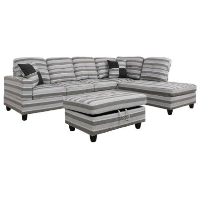 3-Piece Gray Striped Linen 4-Seater L-Shaped Right-Facing Chaise Sectional Sofa with Ottoman