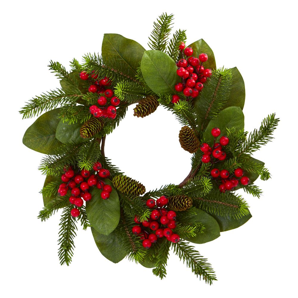 Nearly Natural 19in Unlit Artifical Holiday Wreath With Magnolia Leaf Berry And Pine 4266 The Home Depot