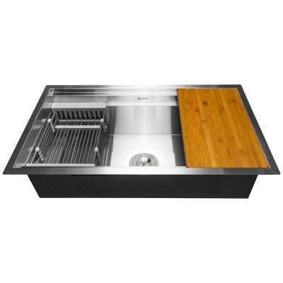 Handcrafted All-in-One Undermount 33 in. x 22 in. x 9 in. Single Bowl Kitchen Sink in Stainless Steel with Accessories