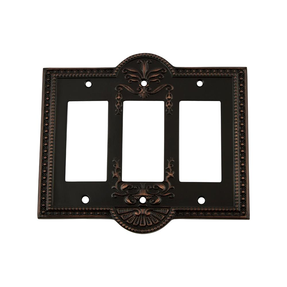 Meadows Switch Plate with Triple Rocker in Timeless Bronze