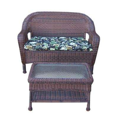Coffee 2-Piece Wicker Patio Conversation Set with Black Floral Cushions