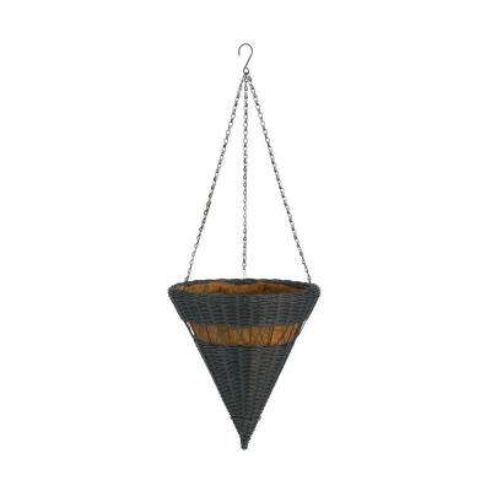 14 in. Hunter Green Cone Resin Wicker Hanging Basket