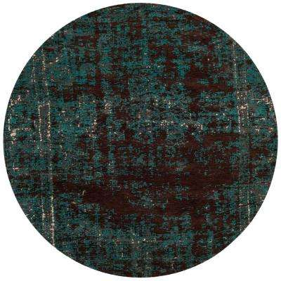 Classic Vintage Teal/Brown 6 ft. x 6 ft. Round Area Rug
