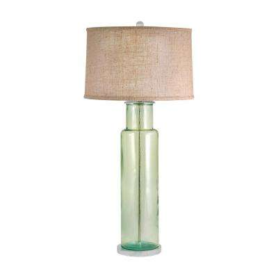 30 In. Recycled Glass Green Cylinder Table Lamp
