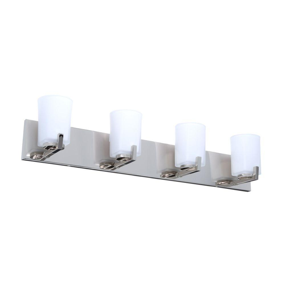 Hampton Bay Wellman 4-Light Polished Nickel Bath Light