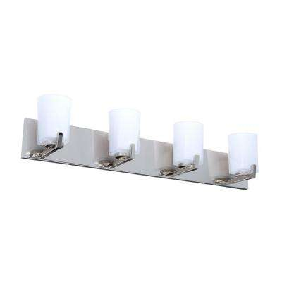 Wellman 4-Light Polished Nickel Vanity Light with Etched White Glass Shades