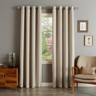 52 in. W x 96 in. L Flame Retardant Blackout Curtain Panel Set in Biscuit