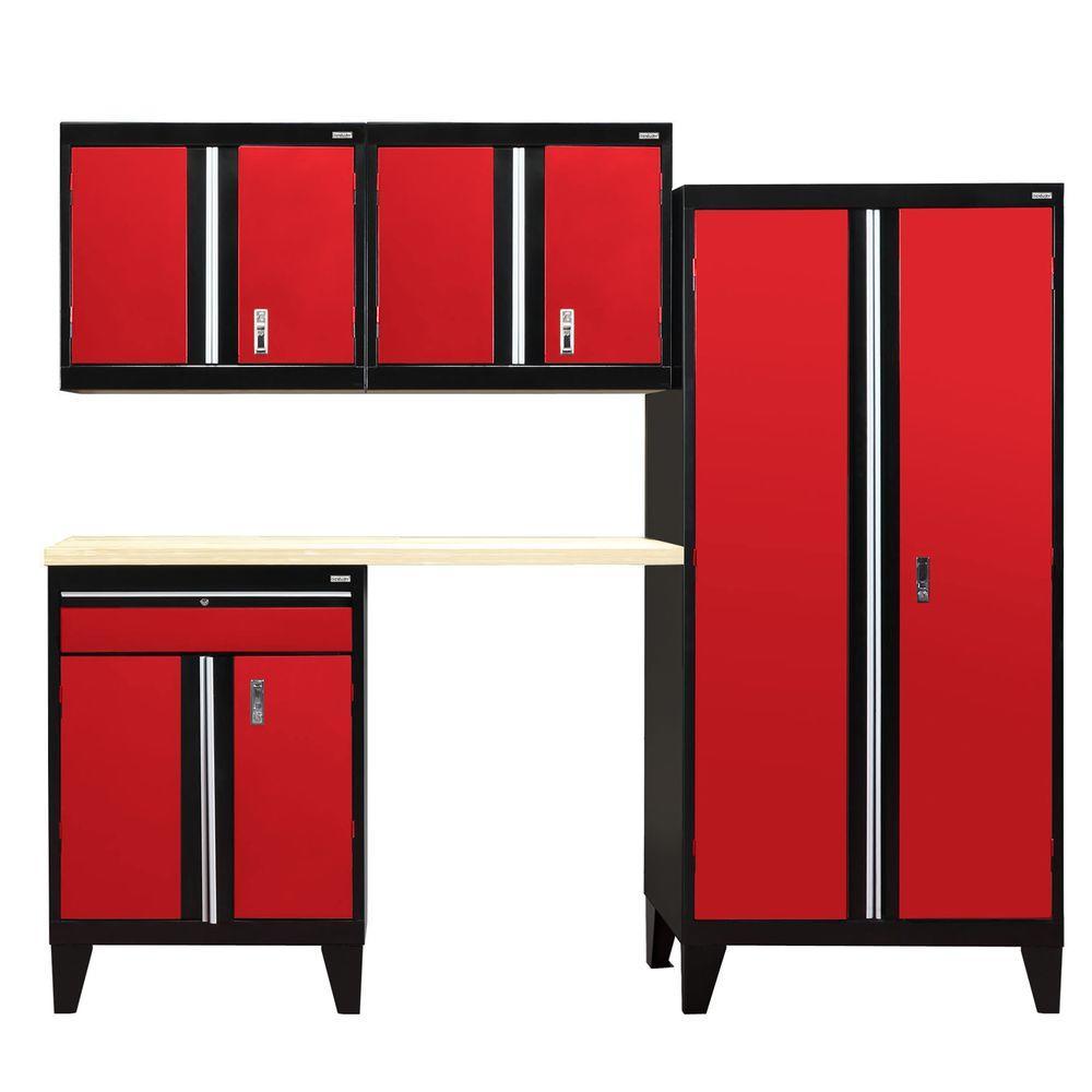 79 in. H x 96 in. W x 18 in. D Modular Garage Welded Steel Cabinet Set in Black/Red (5-Piece)