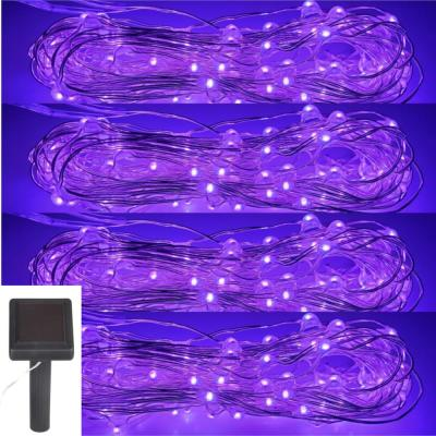 Hunnykome Outdoor 20 ft. Solar Micro LED String Light with 100 Purple LEDs (4-Pack)