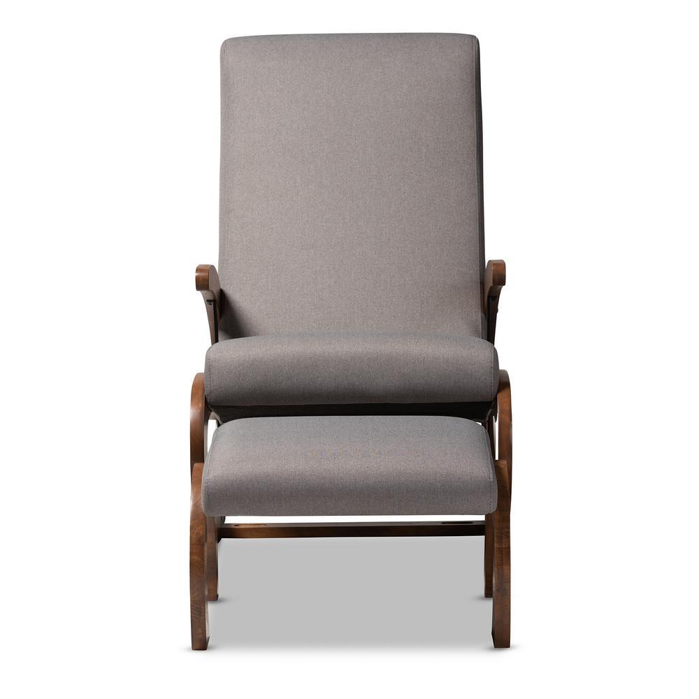 Baxton Studio Kaira Gray and Walnut Fabric Rocking Chair and Ottoman