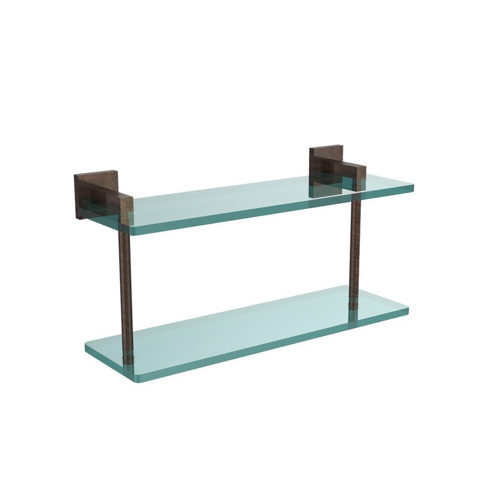 Montero 16 in. L  x 8-1/4 in. H  x 5-3/4 in. W 2-Tier Clear Glass Bathroom Shelf in Venetian Bronze