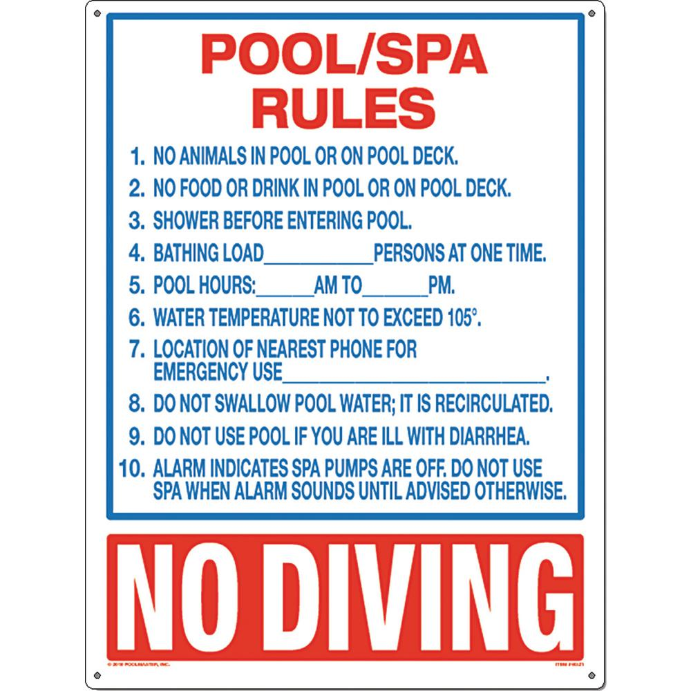 Poolmaster Residential or Commercial Swimming Pool and Spa Signs, Pool/Spa  Rules