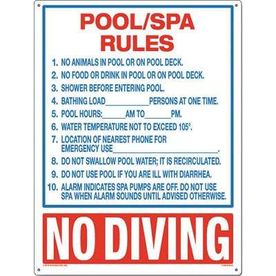 Residential or Commercial Swimming Pool and Spa Signs, Pool/Spa Rules