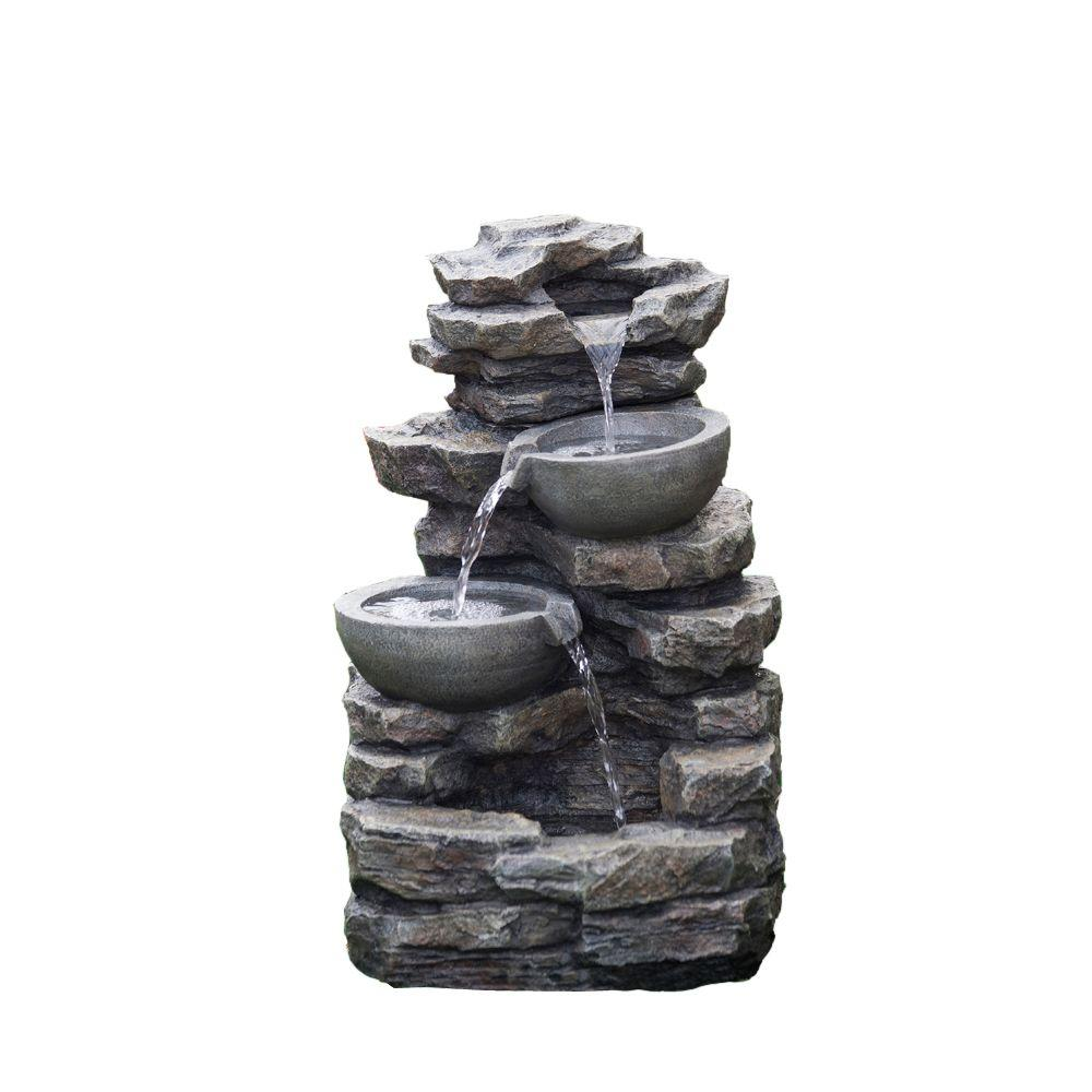 Outdoor Water Fountains Home Depot: Jeco Rock And Pot Waterfall Water Fountain Without Light