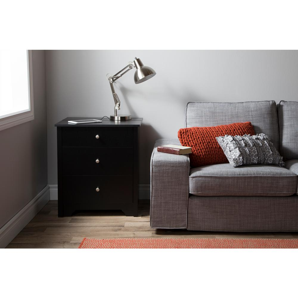 South Shore Vito 3 Drawer Pure Black Nightstand 3170060   The Home