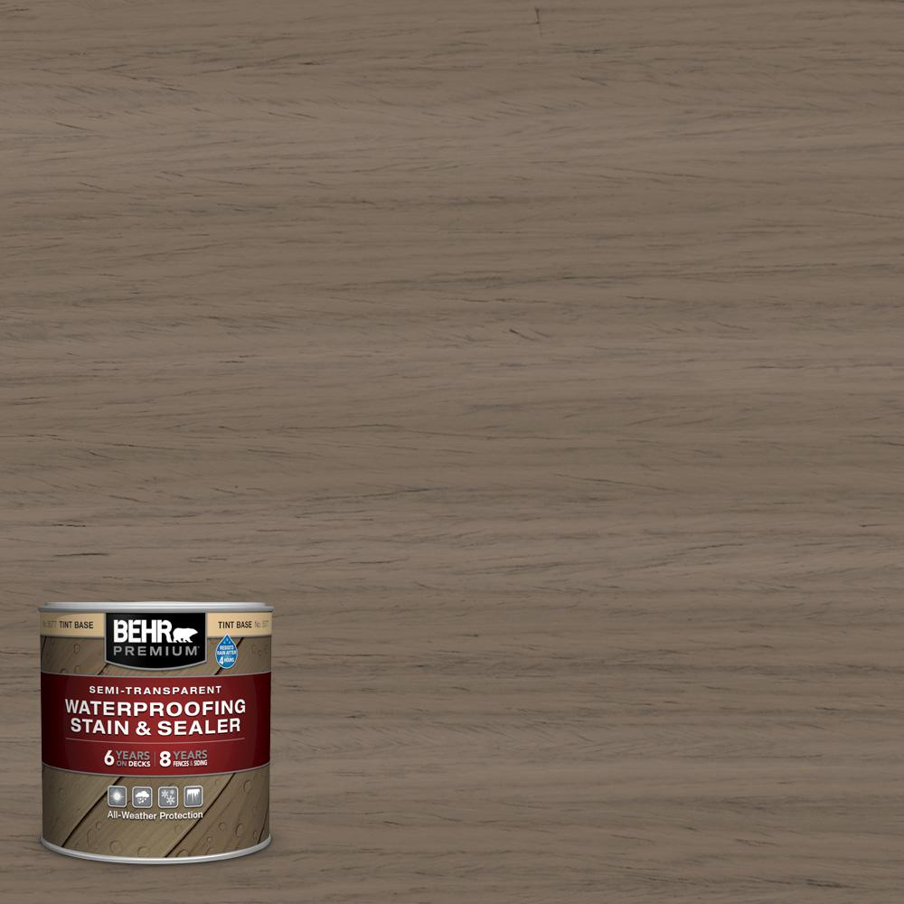 BEHR Premium 8 oz. #ST-159 Boot Hill Grey Semi-Transparent Waterproofing Exterior Wood Stain and Sealer Sample