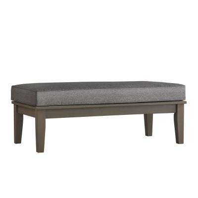 Verdon Gorge Gray Rectangular Wood Outdoor Coffee Table with Gray Cushion