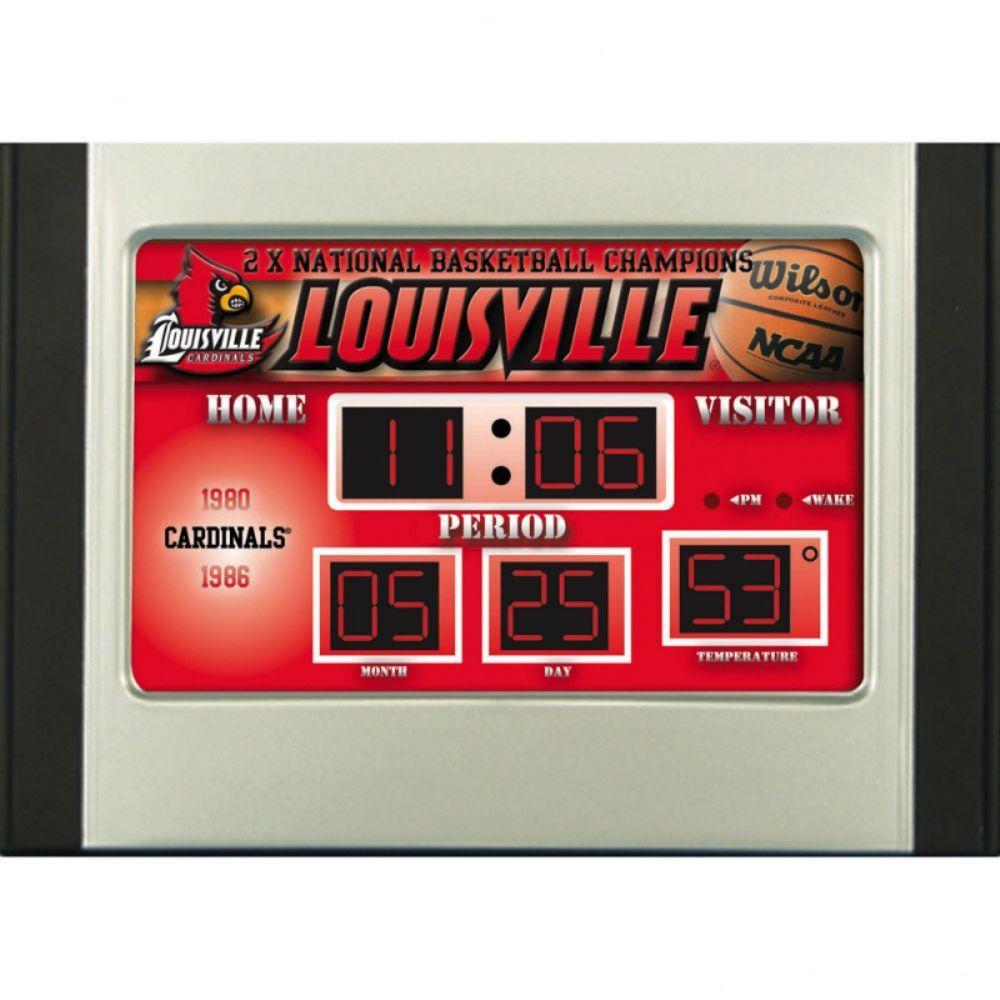 null Louisville University 6.5 in. x 9 in. Scoreboard Alarm Clock with Temperature
