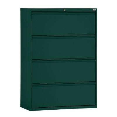 800 Series 36 in. W 4-Drawer Full Pull Lateral File Cabinet in Forest Green