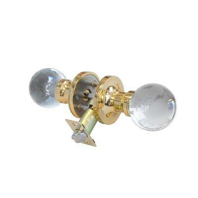 Globe Crystal Brass Privacy Door Knob with LED Mixing Lighting Touch Activated
