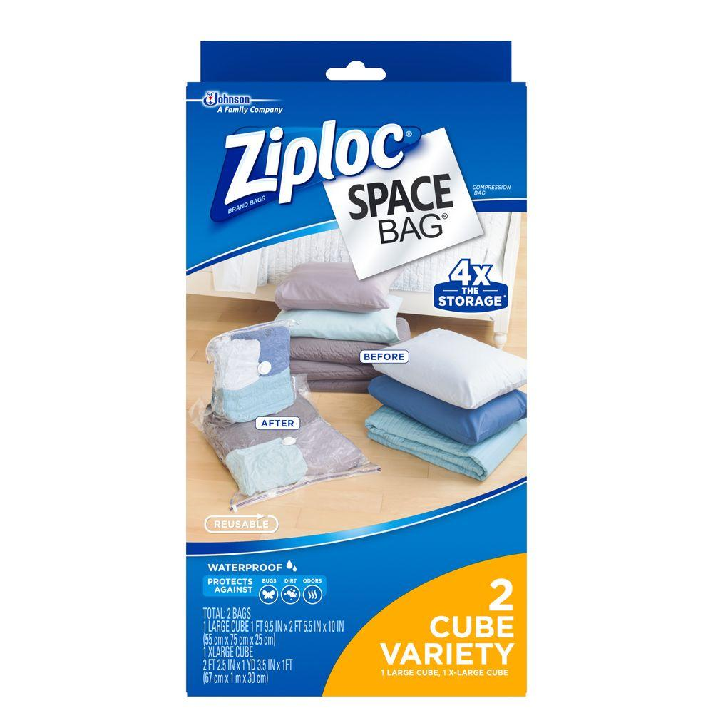 Ziploc Space bags 1 Large, 1 XL Cube Combo Bags (2-Pack ...