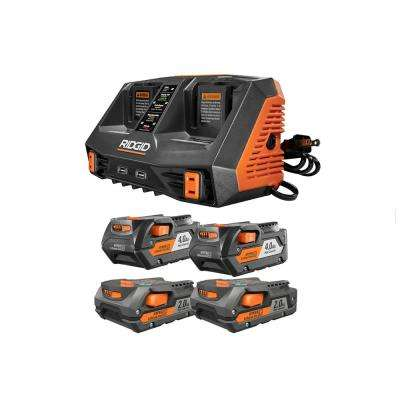 18-Volt Lithium-Ion Dual Port Sequential Charger Kit with (2) 4.0 Ah Batteries and (2) 2.0 Ah Batteries