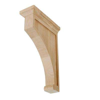 12 in. x 3 in. x 8 in. Unfinished Medium North American Solid Alder Traditional Plain Wood Backet Corbel