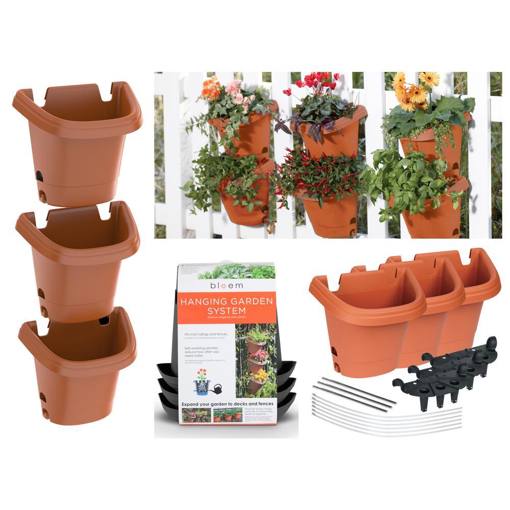 Terra Cotta Hanging Garden Plastic Planter System (3 pack)