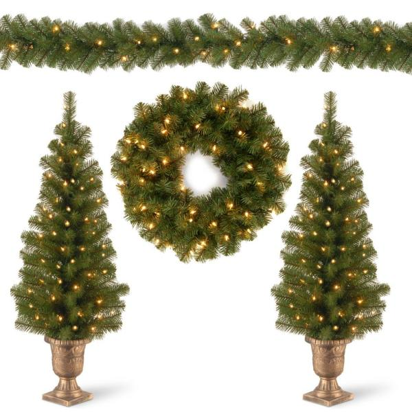 Two 4 ft. Entrance Trees in Black/Gold Pot with 50 Clear Lights and 24 in. Wreath with 20 Warm White with Caps