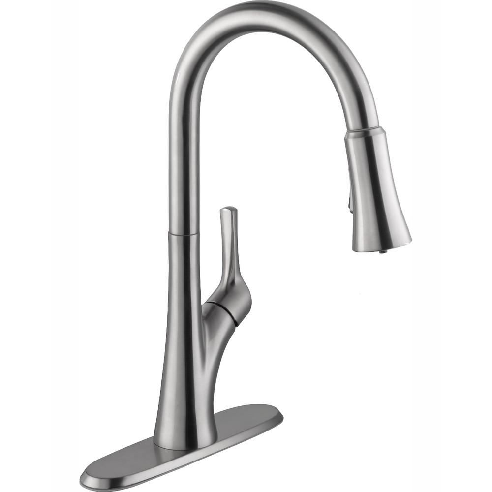 Glacier Bay Single-Handle Pull-Down Sprayer Kitchen Faucet with LED Light in Stainless Steel