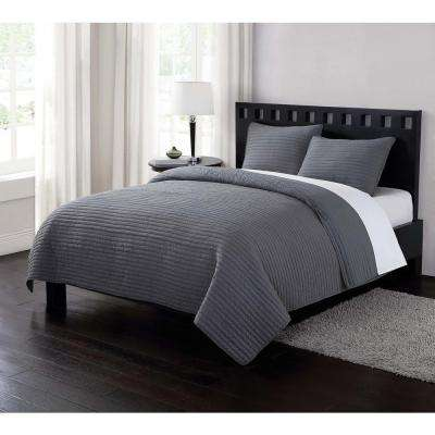 Garment Washed Crinkle Gray 3-Piece Gray Full and Queen Quilt with 2 Shams