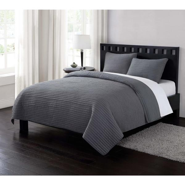 London Fog Garment Washed Crinkle Gray 3-Piece Gray Full and Queen Quilt with 2 Shams