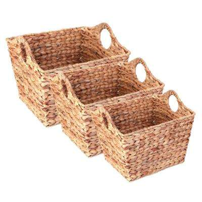 Water Hyacinth Rectangular Wicker Storage Baskets with Cutout Handles, Set of 3 Sizes