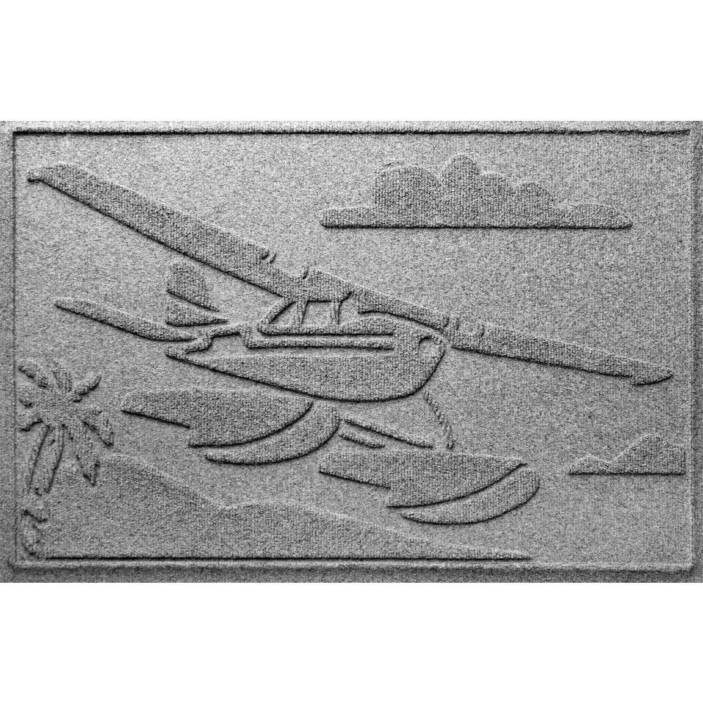 Aqua Shield Medium Gray 24 in. x 36 in. Sea Plane Polypropylene Door Mat