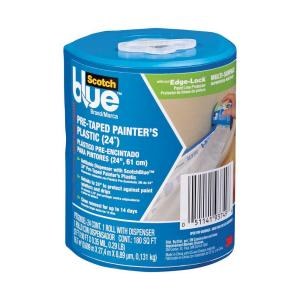 ScotchBlue 2 ft. x 90 ft. Pre-Taped Painter's Plastic Drop Cloth with Edge-Lock and Dispenser (Case of 6)