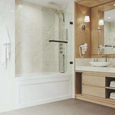 34 in. x 58 in. Frameless Neo-Angle Bathtub Door with 0.3125 in. Clear Glass and Antique Rubbed Bronze Hardware