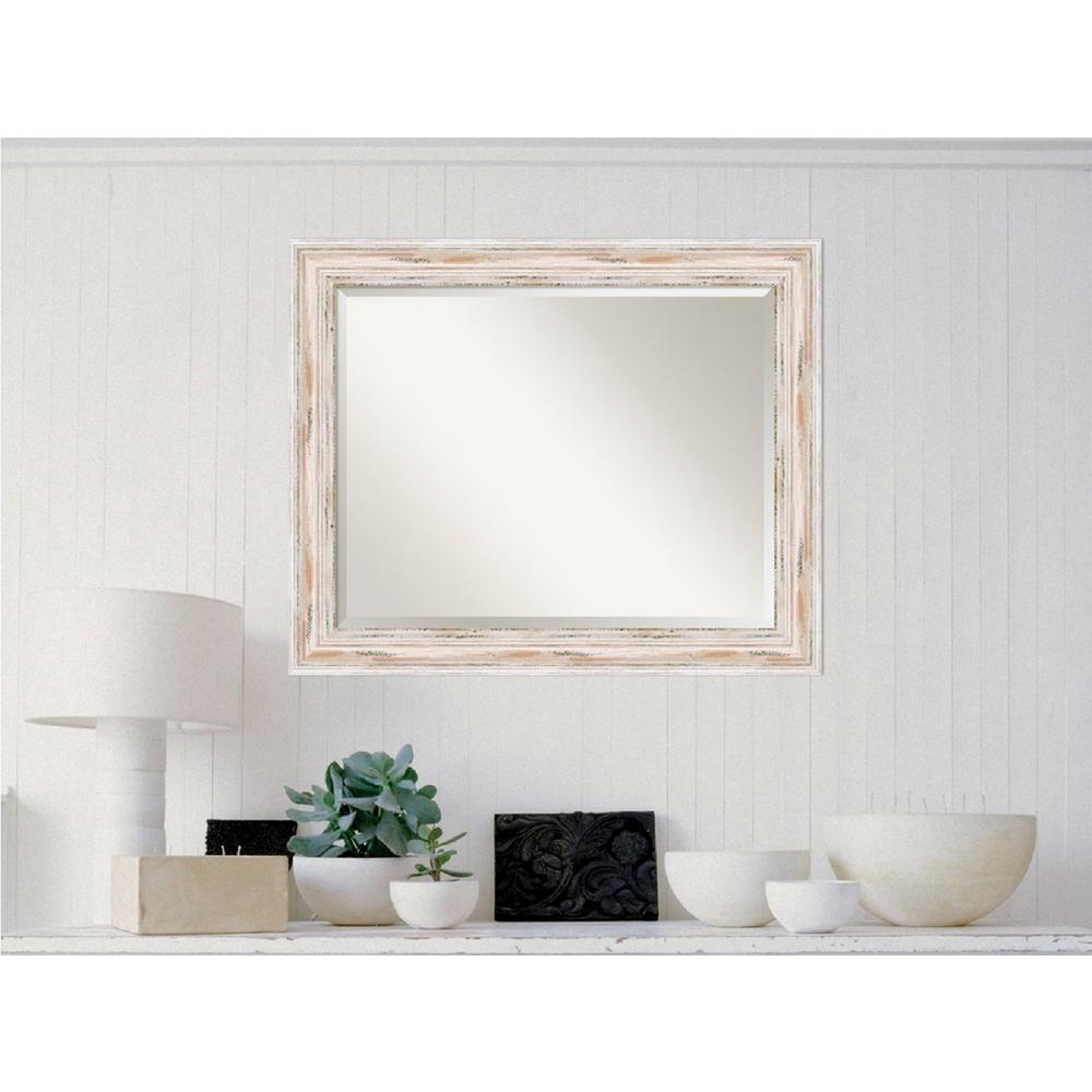 Amanti Art Alexandria White Wash Wood 33 In X 27 Distressed Framed Mirror
