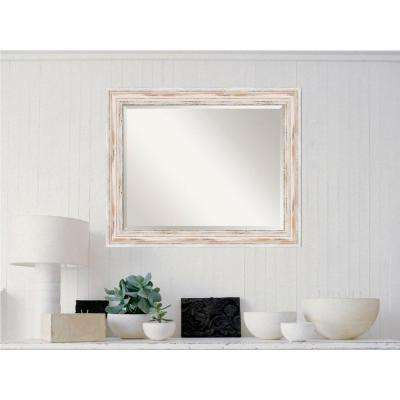 Alexandria White Wash Wood 33 in. x 27 in. Distressed Framed Mirror