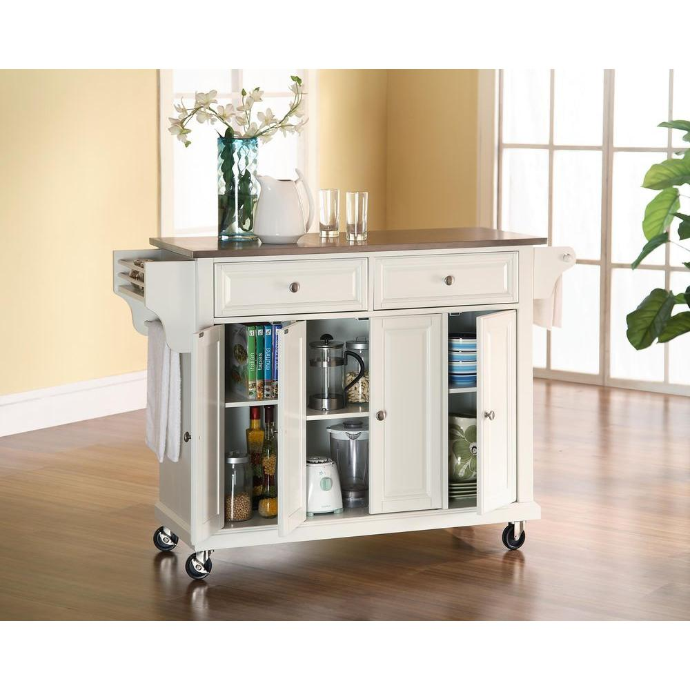 Crosley White Kitchen Cart With Stainless Steel TopKF30002EWH