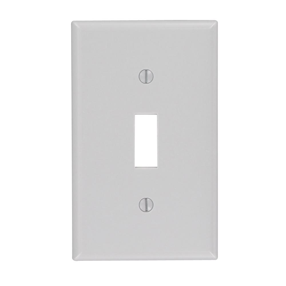 1-Gang 1-Toggle Standard Size Plastic Wall Plate, Gray