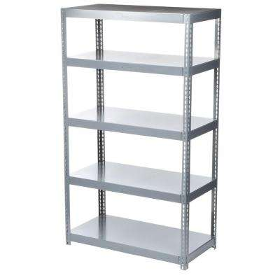 84 in. H x 48 in. W x 24 in. D 5-Shelf High Capacity Boltless Steel Shelving Unit in Gray